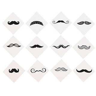 Mustache Party Tattoos - (72 Pack) Fingerstache. Movember