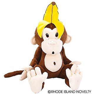 One Large Plush Stuffed Monkey With Banana On His Head - 24.5