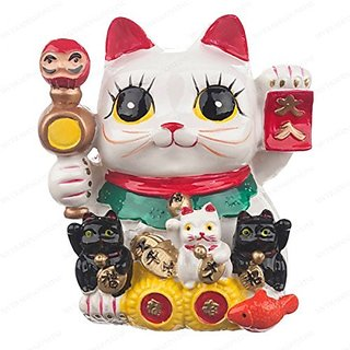 Feng Shui Big Eyes Maneki Neko Lucky Cat Coin Bank for Wealth