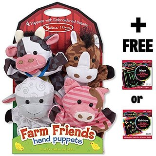 Farm Friends 4-Piece Hand Puppets Gift Set + FREE Melissa & Doug Scratch Art Mini-Pad Bundle