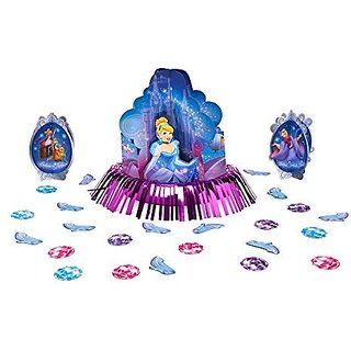 Cinderella Disney Princess Birthday Party Table Decorating Kit (23 Pack), Blue Pink.