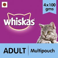 Whiskas Wet Meal (Adult - Cat Food) Multipouch (Tuna, Cod, Prawn  Salmon), 400 Gm Small Pack