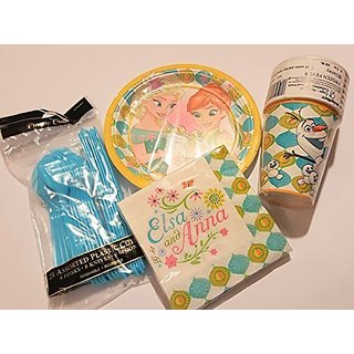 Anna & Elsa Party Cake Set 8 Cake Plates & Napkins Utensils & Cups