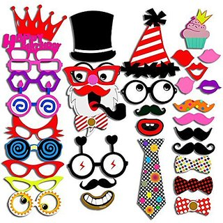 Photo Booth Props 40 Piece DIY Kit for Wedding Party Reunions Birthday Graduation Dress-up Party Favors, Costumes with M