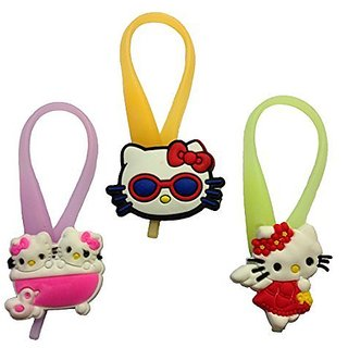 Hello Kitty Luminescent Colorful Silicone Snap Lock Zipper Pulls Mini Set 3 Pcs