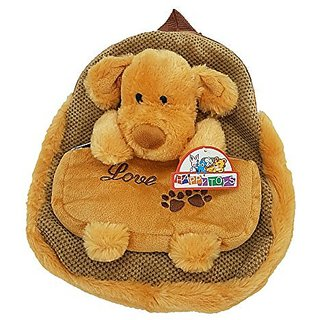 SoftNLux Happy Toys Kids Plush Puppy Dog School & Play Backpack with Pencil Pouch (Light Brown)