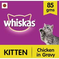 Whiskas Wet Meal (Kitten - Cat Food) Chicken In Gravy, 85 Gm Pouch
