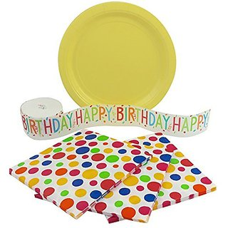 Polka Dot Birthday Party Supplies Bundle for 16 Guests: Paper Plates, Napkins and Crepe Paper Streamer
