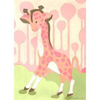 Oopsy Daisy Gigi Giraffe Pink by Sally Bennett Canvas Wall Art, 10 by 14-Inch