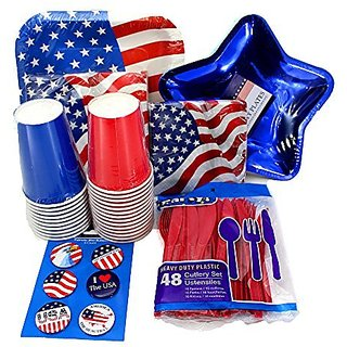 Patriotic Party Supplies Pack Stars and Stripes - Plates, Napkins, Cups, Cutlery, Banner, Buttons- Labor Day, 4th of Jul