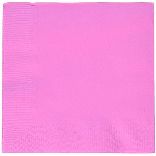 Amscan Party Ready Disposable 2-Ply Beverage Napkin (50 Piece), Bright Pink, 5.2 x 5.3