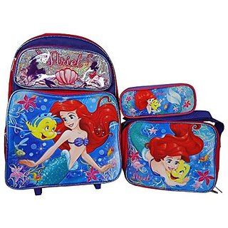 Little Mermaid Ariel Rolling backpack, Lunch Bag, and Pencil Pouch Combo Set