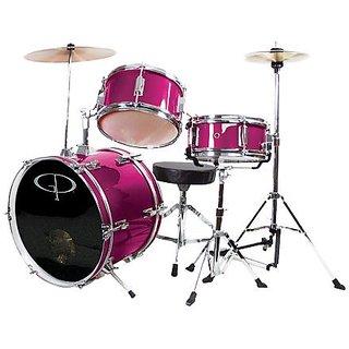 GP Percussion GP50MPK Complete Junior Drum Set (Pink, 3-Piece Set)