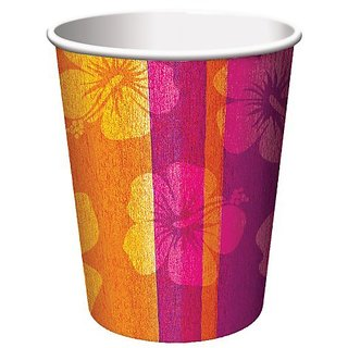 Creative Converting 8 Count Hot or Cold Beverage Cups, Luau Aloha Summer Hibiscus Flower