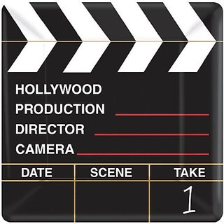Amscan Movie Night Hollywood Party Directors Cut Clapper Dessert Plates (18 Piece), Black Red, 7.25 x 7.25