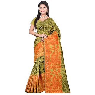 Makeway Yellow Art Silk Ethanic Fashion Partyware Saree
