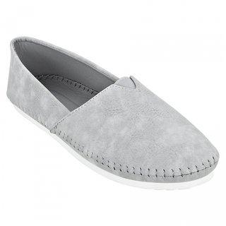 Estatos Grey Broad Toe Flat Loafer ]