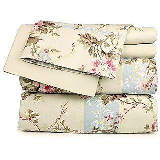 Dor Extreme Beige Floral Sheet Set, Twin