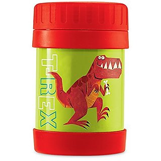 Crocodile Creek Kids Eco Dinosaur T-Rex Insulated Stainless Steel Food Jar, Green, 11.5 oz