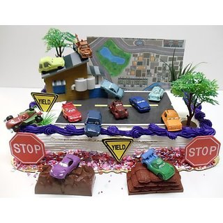Cars 2 Birthday Cake Topper Set Featuring 1.5