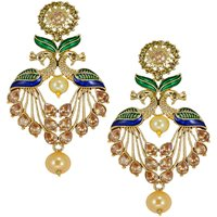 Zaveri Pearls Attractive  Peacock Design Pearl Drop Earring - ZPFK5454