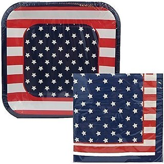 Patriotic Plates and Napkins Red, White, Blue Serves 10 Fourth of July, Stars and Stripes, BBQ, Cookout in-35