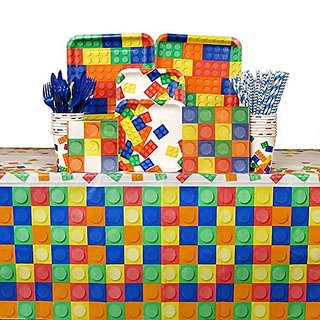 Building Blocks Party Pack for 16 Guests: Straws, Dinner Plates, Dessert Plates, Luncheon Napkins, Beverage Napkins, Cup