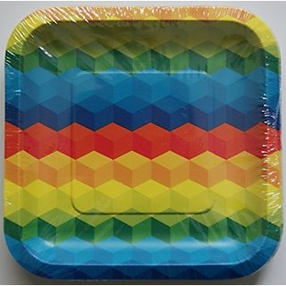 Spritz Multi-Color Building Blocks Themed Party Snack Plates