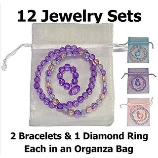 So Sweet Girls Dress Up Diamond Ring & 2 Bracelets, Each Girls Jewelry Set in an Organza Bag (12 Sets)