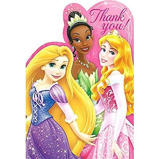 Disney Princess Sparkle Birthday Party Thank you Cards Supply (8 Pack), Pink, 6 1 4