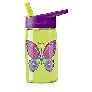 Crocodile Creek Girls Eco Butterfly Flip Straw Tritan Drinking Bottle, Green, 7