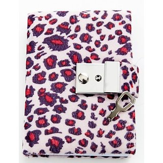 Animal Print Diary - Teen Locking Journal Lock & Key (PINK W RED SPOTS)