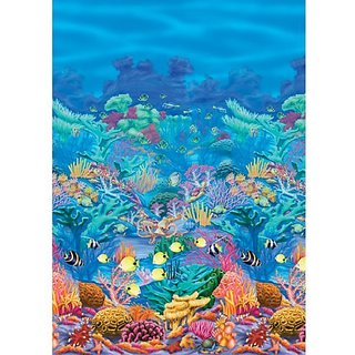 Amscan Sun-Sational Summer Luau Party Coral Reef Scene Setter Room Roll Wall Decoration, Multi Color, 52 x 6