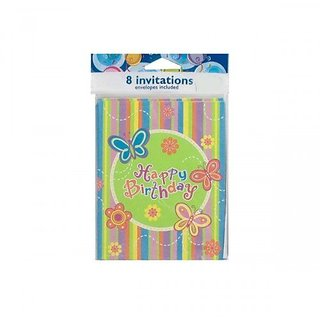 Happy Birthday Butterfly Invitations Notes 8 Count