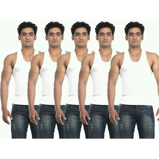 Pack of 5 white vests for men