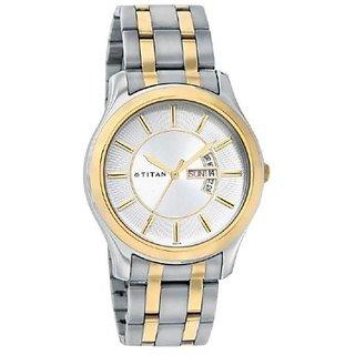 Titan Round Dial Gold and Silver Metal Strap Men Quartz Watch