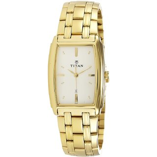 Titan Rectangle Dial Gold Metal Strap Men Quartz Watch
