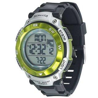 Sonata Round Dial Black Digital Watch For Men -77011PP01