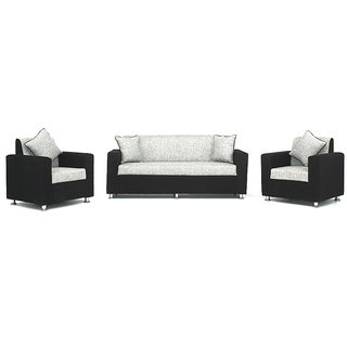 Bharat Lifestyle Tulip 3+1+1 Black And Grey Sofa Set