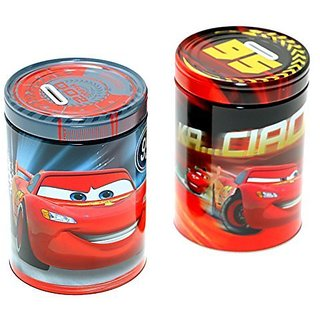 Set of 2 Disney-Pixar Cars Oil Can Tin Metal Coin Banks