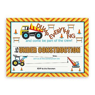 Construction Party Invitations - 10 Invitations + 10 Envelopes