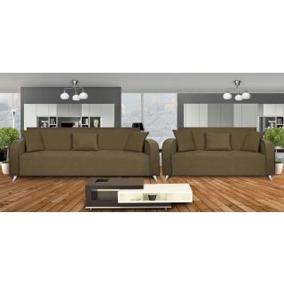 Dolphin Cabana Fabric 3+2 Seater Sofa Set - Grey
