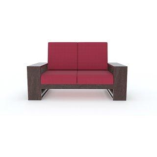 Tezerac -Pompano Wooden Two Seater Sofa - Red