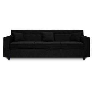 Dolphin Solitaire Fabric 3 Seater Sofa-Black