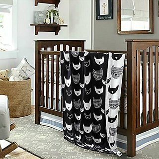 New Black White Home Textile Blankets,100% Cotton Thread Blanket,Black White Cat Printing Kids Knitted Blanket,Size 35 x