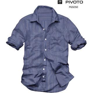 Platinum Presents Regular Fit Casual Half sleeve Blue Stripes Cotton Shirt for Men