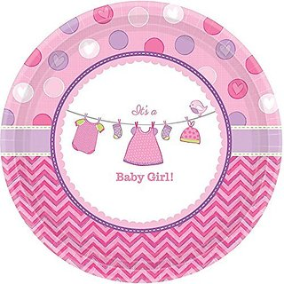 Amscan Pretty Shower with Love Girl Round Baby Shower Party Paper Plates (8 Piece), 7