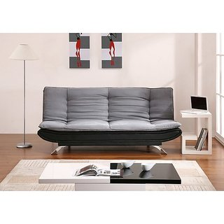Fabhomedecor - Richmond Wooden Frame Sofa Cum Bed With Dual Fabric Upolstry And Metal Legs - Grey  Black
