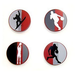 Childrens Action Sports Snowboarding, Football, Basketball and Bowling Dresser Drawer Knobs Set of 4