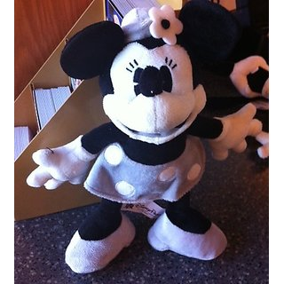 Disney Minnie Mouse Black and White Collectible Plush Doll NEW